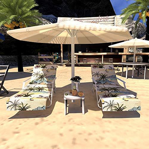 Cubierta de la Silla de Playa, Pool Sunbathing Lounge Chaise Tapa reclinable Toalla con Bolsillos Laterales, Manta Espesa portátil de Secado rápido y Tumbona para Vacaciones-220x75CM