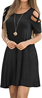 EZBELLE Women's Cold Shoulder Dresses with Pockets Loose Strappy T Shirt Swing Dress