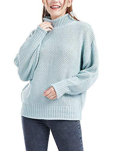 Botlav - Jersey de manga larga con cuello alto para mujer, Azul, XL