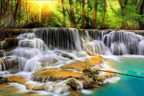 NoNo Erwachsene Holzpuzzle 1000 Teile, Wasserfall, Grüner Wald, Naturlandschaft