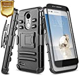 NageBee LG Rebel 4 LTE Case, Aristo 3+ Plus/Aristo 3/Aristo 2/Aristo 2 Plus/Tribute Dynasty/Empire/Zone 4/Phoenix 4/Fortune 2/Risio 3/Rebel 3/K8+/K8S w/Screen Protector, Belt Clip Holster Case -Black