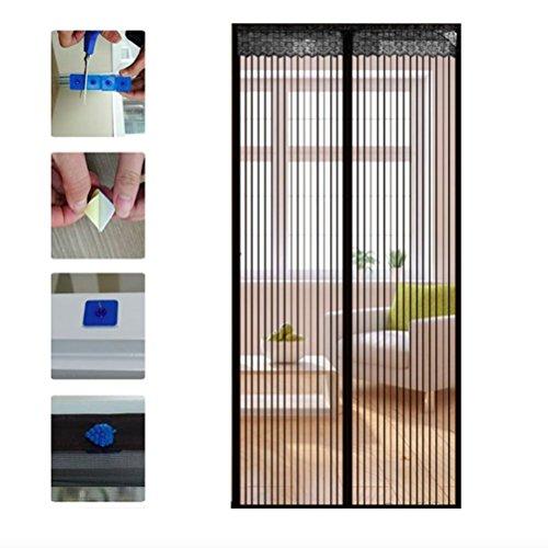 WINOMO 90 * 210cm magnetico Mesh schermo porta dichiusura tenda per uso domestici anti-insetti (nero)