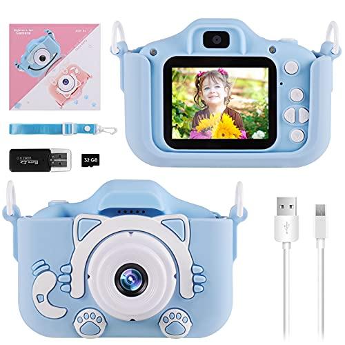 Cámara para Niños Infantil, Diealles Shine Mini Video Cámara Zoom Digital de 2.0 Pulgadas, 20 Mega Píxeles, Cámara de 1080p con Lente Delantera y Trasera, Tarjeta SD 32G, Lector de Tarjetas, Línea USB