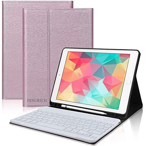 DINGRICH Teclado con Funda para iPad 9.7 2018 Español Ñ Teclado Bluetooth Inalámbrico Desmontable con Portalápiz para iPad Air 2/iPad Air/iPad 2018 6th Gen/iPad 5 2017/iPad Pro 9.7 Smart Case Oro Rosa