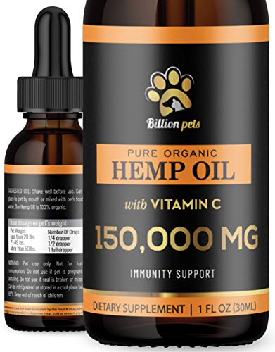 Billion Pets Hemp Oil for Dogs and Cats – Immunity Support – Made in USA – Calming Oil for Dogs – Pet Hemp Oil for Dog…