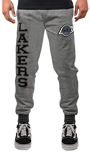 Ultra Game NBA Los Angeles Lakers Mens Jogger Pants Active Overtime Fleece Sweatpants, Charcoal, Large