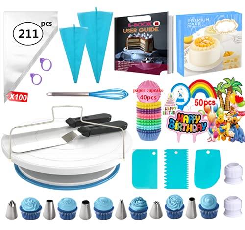 Nifogo Decoración de Pasteles Kit Torta Giratoria Herramienta de Pastelería Platos para Tarta Cake Turntable Boquillas Manga Pastelera Ideal para Cualquier aficionado a la repostería (211PCS)