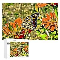 花の蝶 Butterfly on Flower 1000個の 木製ピース ジグソーパズル ワンピース (50x75cm) ジグソーピース 立体パズル 木製ジグソーパズル 学習玩具 木のおもちゃ 大人 ピースジグソーパズル