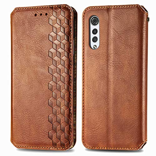 TOPOFU Leder Folio Hülle für LG Velvet 5G, Premium PU/TPU Flip Wallet Tasche mit Kartenfächern, Magnetic, Book Style Lederhülle Handyhülle Schutzhülle (Braun)
