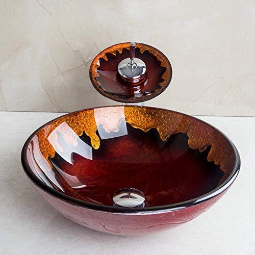 Bad gehard glas ronde wastafel wastafel waterkraan kit plafond gemonteerd set Cold & Hot Mixer waterkraan met pop-up drain