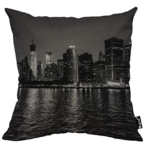 Mugod New York City Decorative Throw Pillow Cover Case Quiet Nightscape River Skyline Buildings Black Grey Cotton Linen Pillow Cases Square Standard Cushion Covers for Couch Sofa Bed 18x18 Inch