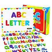 #LightningDeal Magnetic Letters and Numbers, Fun Alphabet Kit for Kids, ABC Educational Toys, Refrigerator Magnets with Dry Erase Magnetic Board Preschool Toy - 112PCS