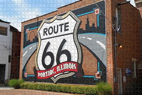Pontiac Route 66 Illinois USA Jigsaw Puzzle para adultos 1000 piezas de rompecabezas de madera para adultos