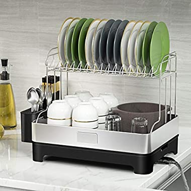 Junyuan Dish Drying Rack Removable Cutlery Tray and Drainboard, 2 Tier Dish Rack Stainless Steel For Kitchen Counter with Adj