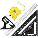 Proster Kit Squadra Combinata Righello Triangolo da Carpentiere Metro a Nastro da 7,5m Alta Precisione Righello da Carpentieri con Livello a Bolla Squadra Durevole Kit Strumenti per Carpentieri