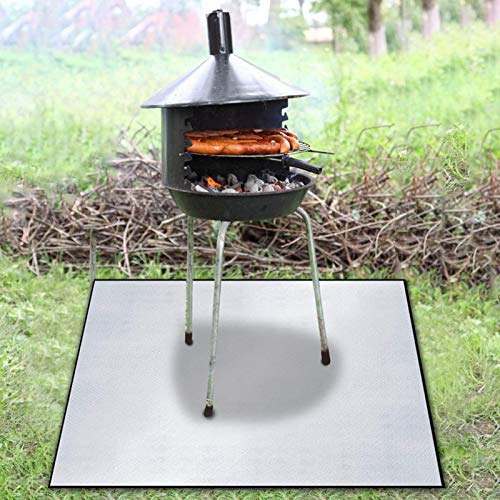 Fireproof Mat for Fire Pit, Waterproof Durable Fireproof Mat,Protection Grill & Patio Fire Pit Pad, Fireproof Mat, Deck Protector, Under Grill Mat for Wood Burning Fire Pit 100x100cm