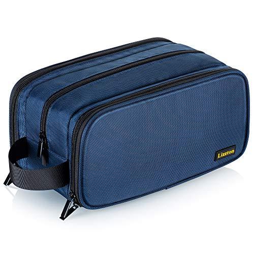 Elviros große Kulturbeutel für Männer/Frauen, tragbare Reise-Waschtasche, Dopp Kit Schminktasche mit einem kostenlosen Nass-Trockenbeutel, Blau