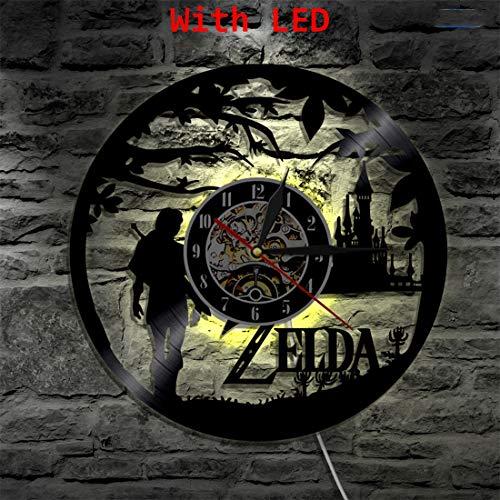 SOKIMI Legend of Zelda Handgemachte LED Vinyl Uhr Licht Farbwechsel LP Wandleuchte Fernbedienung Hintergrundbeleuchtung Cooles Wohnzimmer Geschenk,Withlights