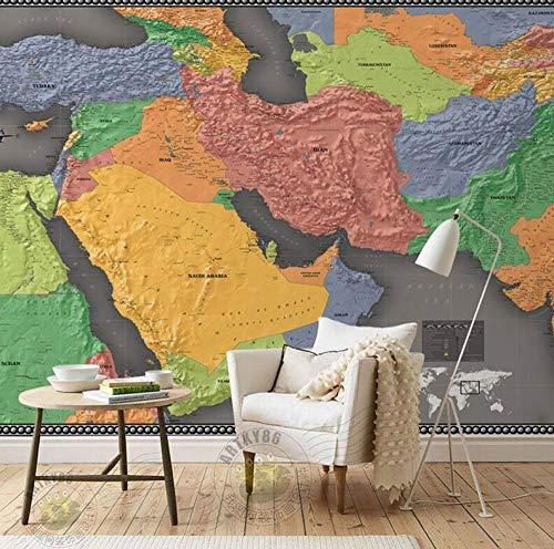 Grote Midden-Oosten Wereldkaart muurschildering Woonkamer Slaapkamer Wandpapier 3D Kleurrijke Fantasie Geologische Kaart Achtergrond 3D Behang 300 * 210 300 * 210