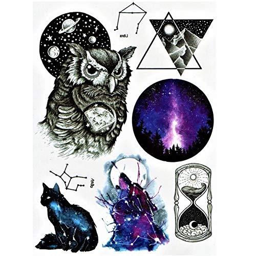 Just Fox – Tatuaje temporal, búho, gato, diseño de estrellas, tatuaje adhesivo temporal, arte corporal