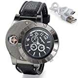 Avaner 2-in-1 Mens Novelty Military Analog Quartz Wrist Watch with USB Rechargeable Windproof