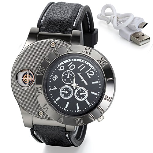 Avaner 2-in-1 Mens Novelty Military Analog Quartz Wrist Watch with USB Rechargeable Windproof Cigarette Lighter