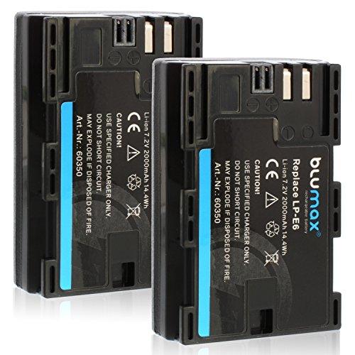 Blumax 2X LP-E6 Akku kompatibel mit Canon EOS 60D 70D 6D 60D 70D 5D Mark 3 2000mAh 7,2V 14,4Whmehr Leistung als Original akku