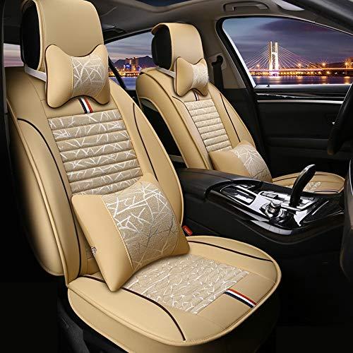 JayQm 5 zitplaatsen autostoelhoezen zitkussen, vlas ademende mannen en vrouwen vier seizoenen, ingebouwde comfortabele rebound spons, geschikt voor de meeste auto's