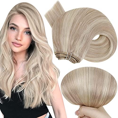 Hetto Weave on Tressen 18 Zoll Weave Bundles Ein Stuck Remy Echthaar Weft Sew in Haarverlängerung Aschblondine Highlights Gebleichtes Blond #18/613 100g