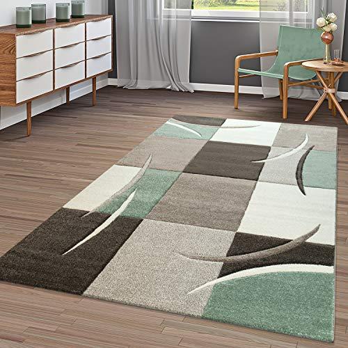 T&T Design Tapis Moderne Salon À Carreaux Tendance Pastel Vert Beige Gris Crème, Dimension:120x170 cm
