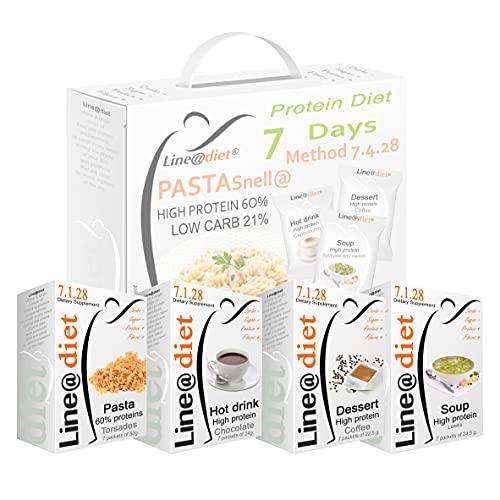 """DIETA PROTEICA con la PASTA ! Alimenti Proteici in BAG COMPLETO per 7 Giorni: Opzione C = 21 preparati PROTEICI (buste proteiche) senza Carboidrati e senza Zuccheri + 7 confezioni da 50 grammi di PASTA PROTEICA al 60% di Proteine, una dieta per """"PERDERE PESO"""" senza sentire la FAME! Una settimana completa di colazione, spuntino, pranzo e cena ... brucia grassi e TORNI SUBITO in FORMA!"""