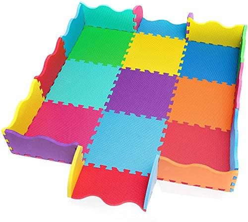 Spielmatte extra dick 14mm 25 St. Puzzleteile incl Rand Schaumstoff Bodenpuzzle Baby Spielunterlage Kinder Spielteppich schadstofffrei 1,5qm Geschenkidee Jungen Mädchen Outdoor 9 Farben von EVA