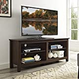 Walker Edison Minimal Farmhouse Wood Universal Stand for TV's up to 64' Flat Screen Living Room Storage Shelves Entertainment Center, 58 Inch, Traditional Brown