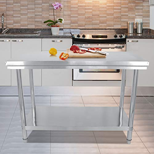 Mesa trabajo acero inoxidable, Superficie de trabajo, Mesa profesional de acero inoxidable para cocina y Catering 120 x 60 x 85 cm