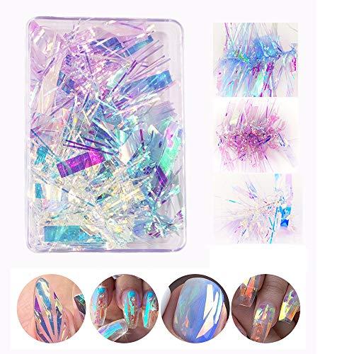 3 Colors Gradient Aurora Glass Paper Nail Sticker, CHANGAR 2020 Popular Reflective Mirror Design Broken Glass Stripe Line Paper Nail Decals 3D Broken Glass Pieces Mirror Foils DIY Nail Art Decoration
