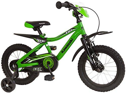 "Kawasaki KBX - Bicicleta infantil (14\"", 35,6 cm), color verde y negro"