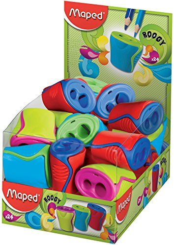 Maped Boogy 2 Hole Canister Pencil Sharpener (Box of 24 in Assorted Colours)