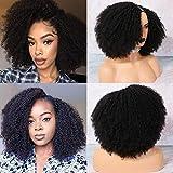 MSGEM Peluca de pelo humano con forma de U para mujeres negras de 50 cm, color natural, 2 x 4, parte media en forma de U, pelucas brasileñas cortas y rizadas, hechas a máquina, 150% de densidad