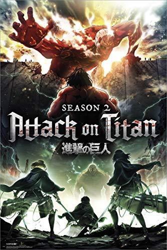 Grupo Erik Editores Poster con diseño Attack On Titan Season 2 Key Art, Madera, Varios, 61 x 91.5 x 0.02 cm