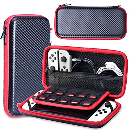 HEYSTOP Case Compatible with Nintendo Switch Protective Hard Portable Travel Carry Case in Red Shell Pouch for Nintendo Switch Console and Accessories