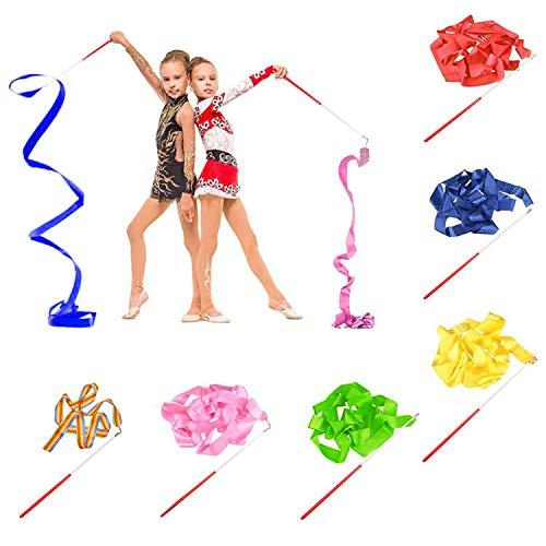 BEIFON 6Pcs 2 Metros Cintas de Danza Gimnasias Rítmicas Streamers Cintas de Baile Cinta con una da Vueltas, Giro de bastón, para Niñas Bailarinas Gimnasia Entrenamiento Actividades Divertidas