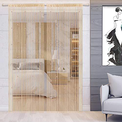 WEIXINHAI Fadenvorhang Fadengardine Vorhang Perlenvorhang - Tür Perlen Vorhänge 100x200cm Raumteiler Anti-Moskito (2 Pack Champagne, 90 x 200 cm)