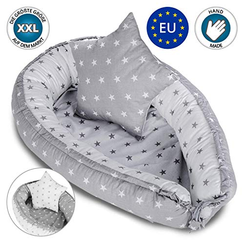 Bebé nido Cocoon para cuna - Capullo para ropa de cama para bebés Ropa de cama Nido de peluche 100% algodón GRIS