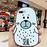 【CaserBay】 iPhone Phone Case 3D Cute Kawaii Cartoon Design, Flexible Soft Silicone Rubber Case Cover【Seal, Compatible with 4.7' iPhone 8 & iPhone 7】