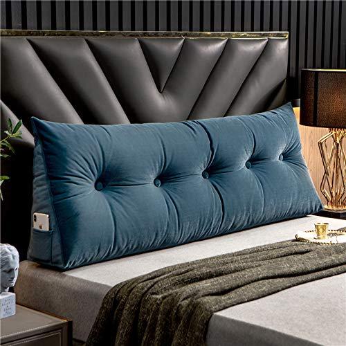 Triangular Wedge Bedside Backrest Cushions,Three-dimensional Bed backrest Pillow Big Headboard cushion Tatami Reading Waist Backrest Cushion,Pearl cotton Detachable and washable Blue-60 * 20 * 50cm