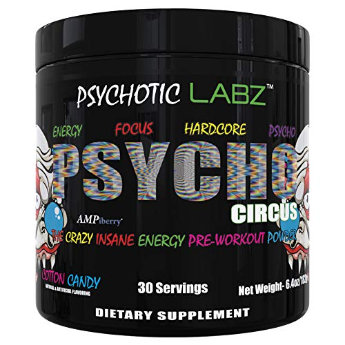 Psychotic Labz Psycho Circus High Stim Pre Workout Powder, Energy Focus Strength Pumps, Loaded with Beta Alanine Creatine Caffeine Ampiberry Dmae Bitartrate, 30 Srvgs, Cotton Candy