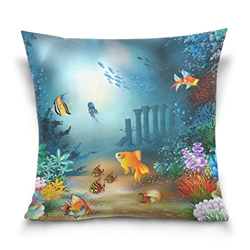 N / A Unterwasser Welt dekorative Kissenbezug quadratische Kissenbezug für Couch, Bett, Sofa, Terrasse, Auto