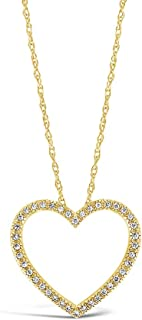 Brilliant Expressions 10K White, Rose, or Yellow Gold 1/8 Cttw Conflict Free Diamond Open Heart Pendant Necklace (I-J Color, I2-I3 Clarity), Adjustable Chain 16-18 inch