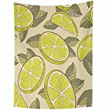 DANGCCI Tapestry 50x60 Inches Colorful Ripe Citric Lemon Cut Food Drink Yellow Citrus Whole Delicious Juice Dessert Diet Juicy Home Decor Wall Hanging Tapestries for Living Room Bedroom Dorm