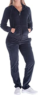 Women's 2 Piece Outfits Velvet Zip Hoodie Sweatshirt & Sweatpants Sweatsuits and Velour Tracksuit Sets Jogging Suit